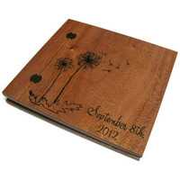 "Wedding Wooden Album - Scrapbook  Wood Burnt  12"" x 12"" - With Wedding Date"