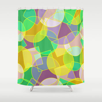 Stained glass colorful geometric mosaic pattern Shower Curtain by Natalia Bykova