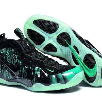 Jacklish Girls Nike Air Foamposite Pro Matrix Black-electric Green