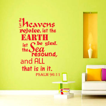 Wall Decal Quote Psalm 96:11 Bible Verse Wall Vinyl Decal Words Bedroom Wall Home Decor Art Vinyl Quote Decal Sticker KV40