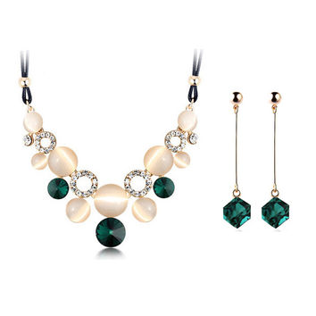 Austrian Crystal 18K gold-plated female Charm wedding jewerly sets for women with Circular Opal Jewelry sets of african