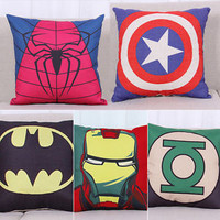 Avengers Superheroes Cotton Linen Cushion Cover Pillows Case Home Sofa Decor 18""