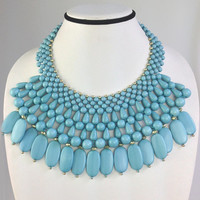 Turquoise Bohemian Necklace,Beaded Collar Statement Jewelry,Fashion Cluster Bib,Gift for Her