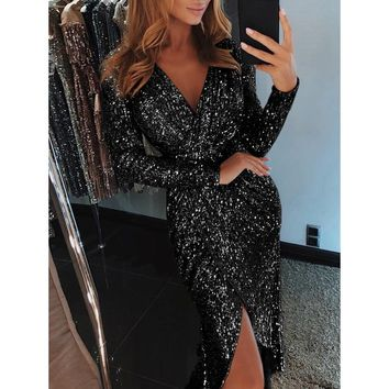 Women Sparkly Bodycon Dress Split Night Clubwear Sexy Dresses Autumn Long Sleeve Party Dress Sheath Sequin Dress