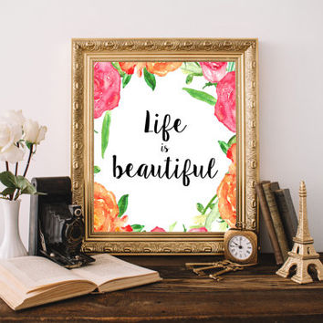 Life is Beautiful Printable Quote art Life is Beautiful Sign Office Decor Woman Pink and Orange Typography Printable Girly Wall Art Print