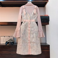Autumn Winter Lady Pink 2 Piece Set Dress Women Flare Sleeve Knitted Top + Single-Breasted Plaid Tweed Overalls Dress