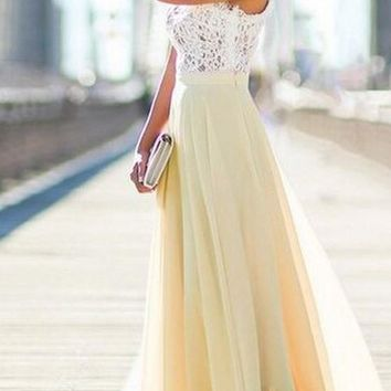Yellow Patchwork Grenadine Lace Tiered Round Neck Maxi Dress