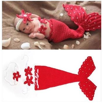 Hot Baby Hat Mermaid Newborn Photography Props Toddler Girls Boys Crochet Knitted Cap Hand-woven Photo Costume Props Hats Caps