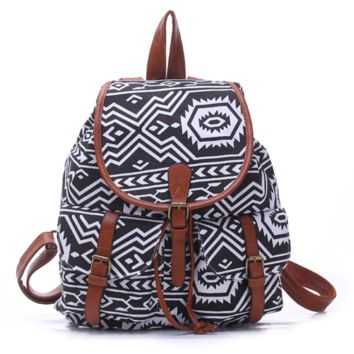 Black College Aztec School Bag Travel Bag Canvas Lightweight Backpack