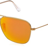 Ray-Ban Caravan RB3136 Sunglasses Matte Gold Brown Mirror Red 55mm