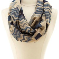 Geo Chevron Infinity Scarf by Charlotte Russe - Navy Combo