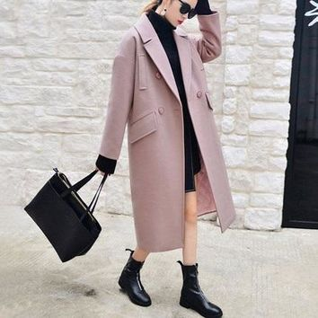 X-long Oversized Coat With Pad Lining Warm Thick Casual Overcoat New Women's Camel Wool-like Coats Autumn Winter 2016