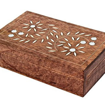 Store Indya Hand Carved Wooden Jewelry Box with Glass Artwork, 8 by 5 Inch