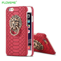 FLOVEME Luxury 3D Lion Head Metal Ring Holder Stand Phone Cases For iPhone 6 6s 4.7/Plus 5.5/5 5S Hard Kickstand Back Cover Case