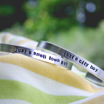 Just A Small Town Girl / City Boy Bracelet Set - Couples Jewelry - Journey Lyrics - Hand Stamped - Love