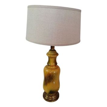 Pre-owned Large Yellow Glazed Vintage Ceramic Lamp