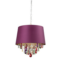 Sterling Purple Drum Pendant Light With Crystal Drops