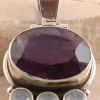 Handmade Purple Amethyst & White Rainbow Moonstone Pendant