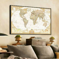 Vintage Retro World Map Treasure Map Paper Poster Wall Art Decor 72 X 47cm [8081670855]