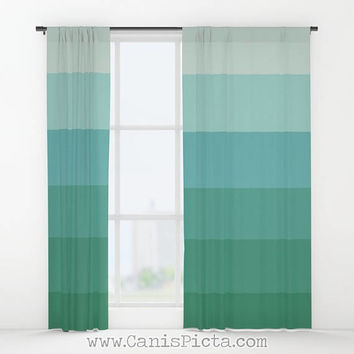 Seafoamin' Ombre Pillow WINDOW CURTAINS Decorative House Home Art Decor Gift Drapes Treatment Green Teal Aqua Aquamarine Ocean Geometric Her