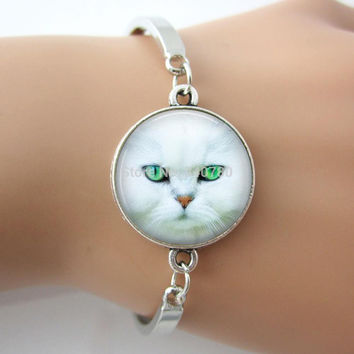 White Cat Bracelet cat jewelry, art picture charm gift for friend ,family