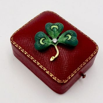 Vintage 18k Gold ENAMEL DIAMOND Pin Brooch 18k Yellow Gold Green Enamel Three Leaf Clover Shamrock Pin Caldwell & Co. Original Box