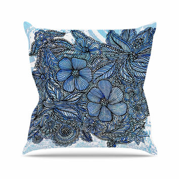 "Julia Grifol ""Blue Flowers In My Garden"" Aqua Navy Outdoor Throw Pillow"