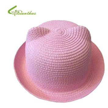 LMF78W 2017 Fashion Straw Hats Summer Baby Cat Ear Decoration Lovely Child Character Girls And Boys Sun Hat Solid Children Beach Cap