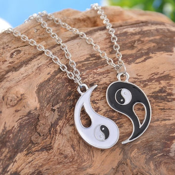 1Set Best Friends Ying Yang Necklaces Taiji Bagua Charm Pendant Necklaces (Size: 43.3 cm) (With Thanksgiving&Christmas Gift Box)= 5618301441