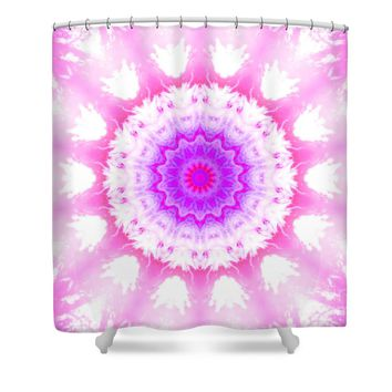 Pink and White Snowy Kaleidoscope Mandala Shower Curtain for Sale by Tigerlynx Art