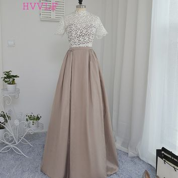 HVVLF 2017 Formal Celebrity Dresses A-line High Collar Short Sleeves Floor Length Taffeta Lace Famous Red Carpet Dresses