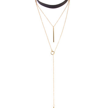 Leather Lariat Bar Choker Necklace