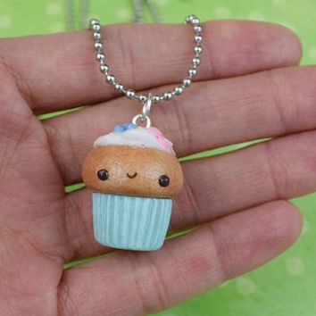 Kawaii Blueberry Charm Necklace | Miniature Sweet Food | Cute Handmade Gift | Polymer Clay