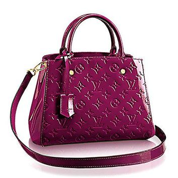 Authentic Louis Vuitton Montaigne BB Monogram Vernis Leather Handbag Article: M50581