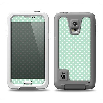 The Light Green with White Polkadots Samsung Galaxy S5 LifeProof Fre Case Skin Set