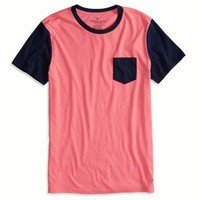 AEO FACTORY COLORBLOCKED POCKET T-SHIRT