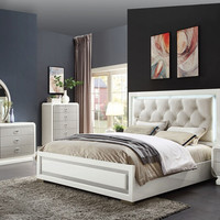 Acme 20200Q 5 pc Allendale latte high gloss finish wood faux leather LED queen bedroom set
