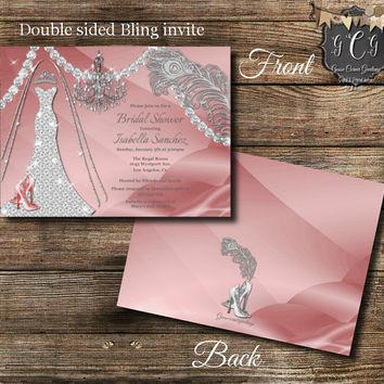 Wedding dress Invitation,Bridal Shower,Bling Wedding Dress, Diamond Wedding, Bridal Shower Invitations, Rhinestone Invitation, Pink Silver