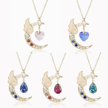 Japan Sailor Moon Necklace Cute Moon Star Angel Wing Natural Stone Pendant