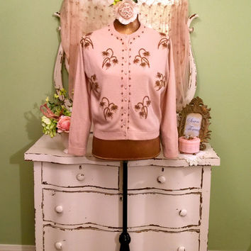 50s Vintage Beaded Sweater, 1950s Beige Cardigan,  Wedding Bridal Sweater, Vintage Sweaters, Prom Party, Rockabilly Sweater, Excellent, L/M