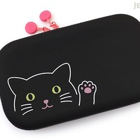 JetPens.com - Lihit Lab Smart Fit PuniLabo Zipper Pouch - Black Cat
