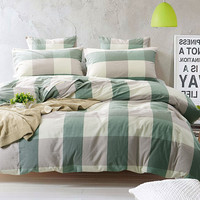 100% Washed Cotton Bedding Set Bedcover Sets Plaid Duvet Cover Sets Bed Sheets Adults Kids Housse De Couette King/Queen/Twin