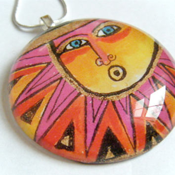Sun Yellow Pink Orange Black Glass Tile Pendant Calendar Recycled Material Necklace Color Face Jewelry