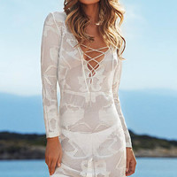 White V- Neckline Crochet Tunic Beach Dress with Drawstring