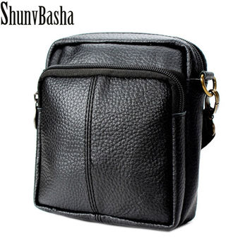 ShunvBasha New Fashion Cowhide Man Messenger Bags Genuine Leather Male Cross Body Bag Casual Men Commercial Briefcase Bag
