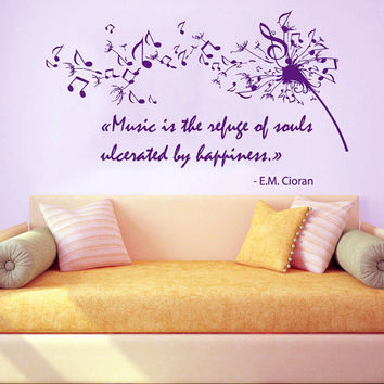 Dandelion Wall Decal Quote Music Is the Refuge Of Souls Vinyl Stickers Home Flower Art Mural Bedroom Interior Design Living Room Decor KI38