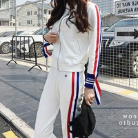 Champion Women Casual Cardigan Jacket Coat Pants Trousers Set Two-Piece