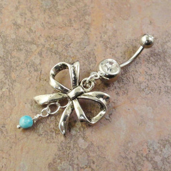 Antiqued Silver Bow Belly Button Ring with by MidnightsMojo