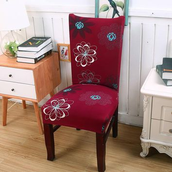Flower printing Stretch Chair Cover seat Dining Chair Covers Protector Slipcover Hotel banquet Dining Room wedding decoration