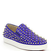 Christian Louboutin - Studded Suede Slip-On Sneakers - Saks Fifth Avenue Mobile